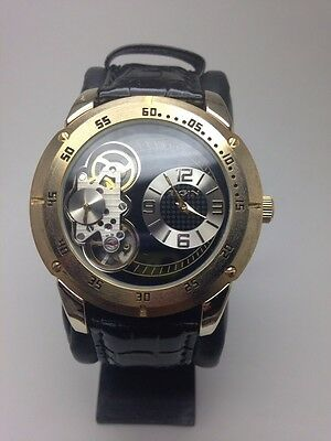 Elgin Mens Gold Tone Black Leather Strap Open Dial Automatic Watch FG2014S-HC
