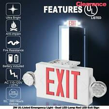New Listing2w Ul Listed Emergency Light Dual Led Lamp Red Led Exit Sign