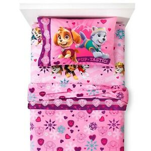 3pc-PAW-PATROL-TWIN-BED-SHEET-SET-Skye-Pink-Best-Snow-Girls-Flannel-Bedding