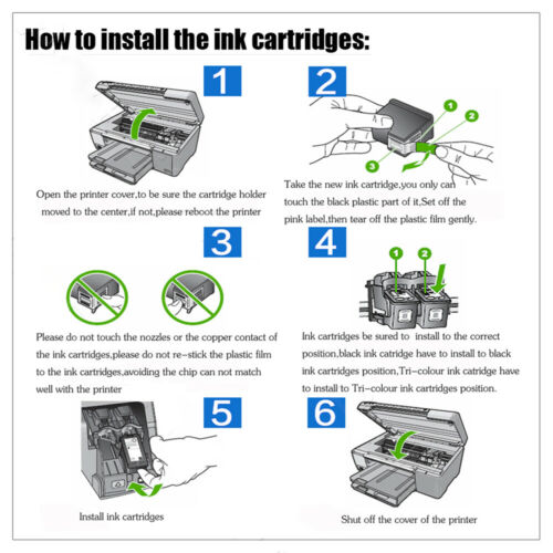 2 Pack for HP 65 XL 65XL Black Ink Cartridge for HP ENVY 5055 5052 5058