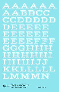 K4 G Decals White 1/2 Inch Drop Shadow Letter Number Alphabet Set