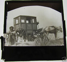 Glass Magic lantern slide CHINESE OR JAPANESE STAGECOACH WITH BOY C1900