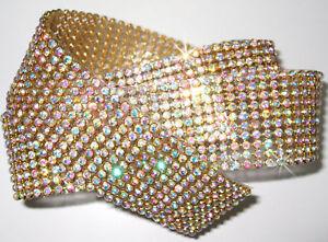 CHATON-10strip-GL-AB-iron-on-CRYSTAL-DIAMANTE-ROPE-REEL-ribbon-customize-clothe