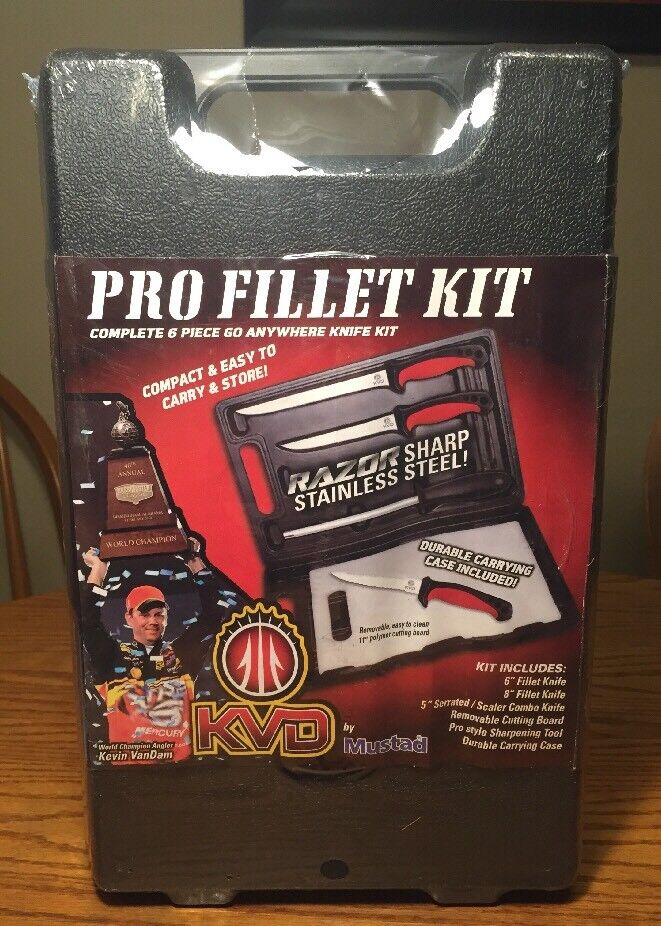 Mustad  ️ New Pro Fillet 6 Pieces Knife With Case Easy To Carry KVD