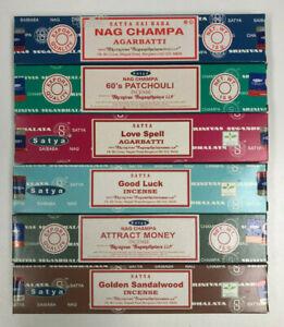 Satya-Incense-Sticks-Mixed-Assorted-Bulk-Lot-of-6-15-gm-Boxes