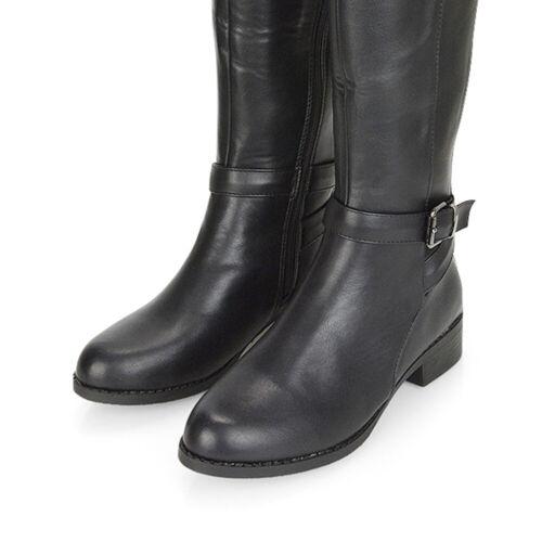 Chaussures Femme Bottes Hautes Femme Noir Plat Motard Équitation Élastique Gusset Taille 3-8