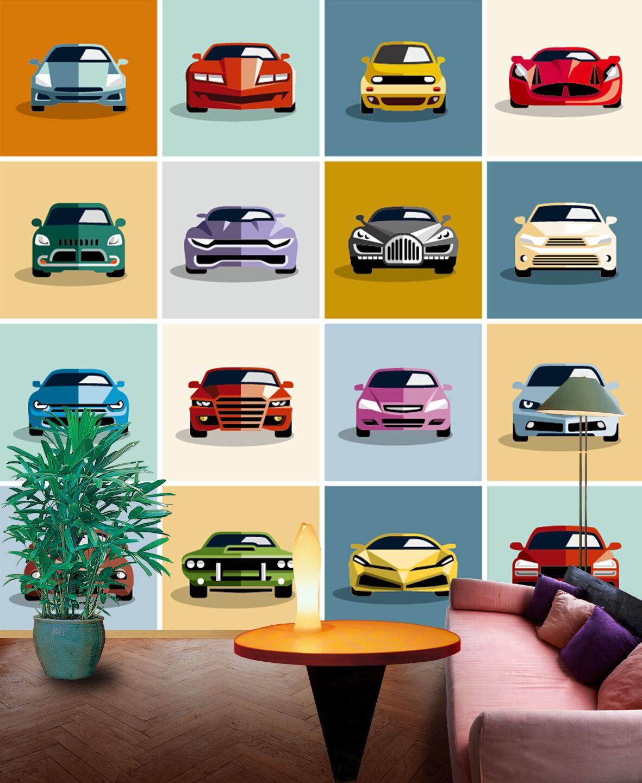 3D Piccola Auto 4 Parete Murale Foto Carta da parati immagine sfondo muro stampa