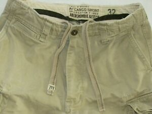 Abercrombie-Fitch-Heavy-Cargo-Twill-Shorts-Khaki-Distressed-Button-Fly-Men-039-s-32