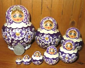 SLIGHT-SECONDS-Matryoshka-White-Purple-Russian-nesting-dolls-8-SIMAKOVA-signed