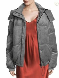NWT-KENDALL-KYLIE-GRAY-VELOUR-PUFFER-JACKET-SIZE-Small-335