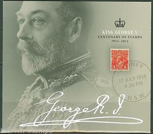 AUSTRALIA   2014  CENTENARY OF STAMPS KING GEORGE V   SHEET  SET NH IN FOLDER