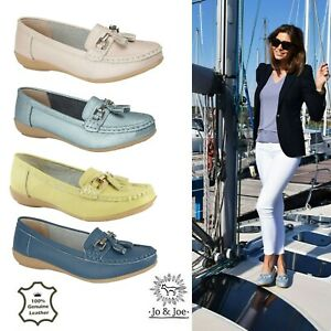Ladies-Leather-Deck-Loafers-Tassel-Slip-On-Moccasins-Loafers-Joe-Boat-Shoes-Size