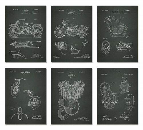 or 3 or Single Matted Harley Davidson Patent Wall Art Prints Set of 6