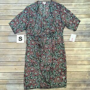 Piccola-Shirley-lularoe-MULTICOLOR-stampa-Kimono-COVER-Up-Taglie-00-8-Rosa-Color-Foglia-Di-Te