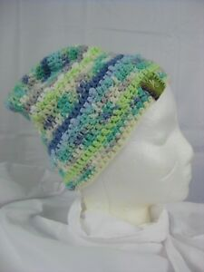 6488c36a434 Crocheted Beanie Hat Adult Cotton Multi Color Skull Cap Rasta Hippie ...