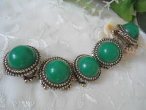 VINTAGE-GREEN-Lucite-Stones-Filigree-design-BRACELET-ChunKy-Big-Huge