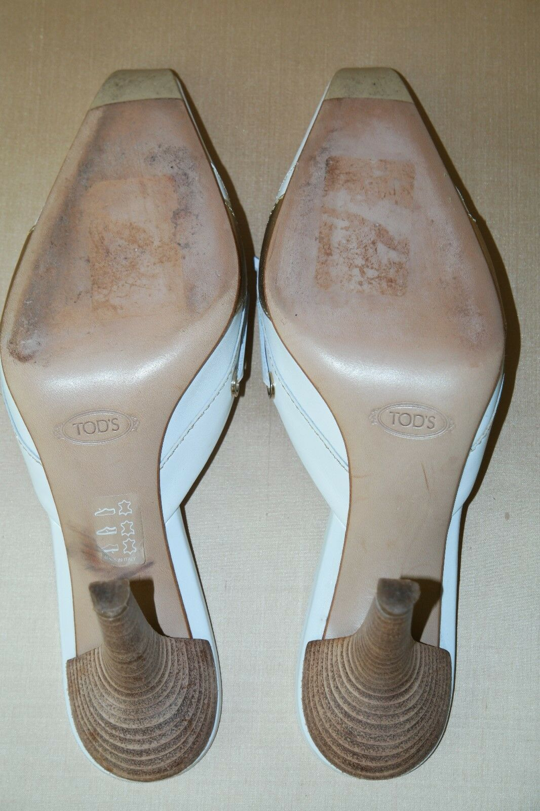 TOD'S MADE IN ITALY MULES WEISS LEATHER+ GOLD DETAIL MULES ITALY SIZE US 9 b13f3f