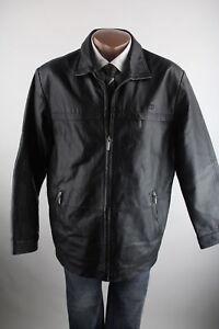 Tom-Tailor-schwarze-Herren-Lederjacke-mit-Reissverschluss-Gr-004-Top-Zustand