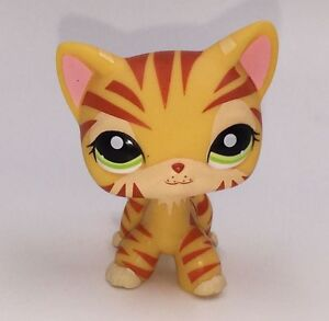 Littlest pet shop toy orange tiger striped short hair lps cat 1451 kitty figure ebay - Petshop tigre ...