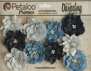 Dahlia-Mix-BLUE-10-Teastained-Paper-Flowers-40mm-across-Darjeeling-Petaloo-Ver