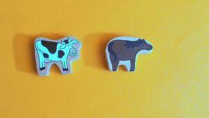 Holzeisenbahn-Zubehoer-oder-zum-Spielen-Holzspielzeug-Kuh-Pferd-Holz-Figuren