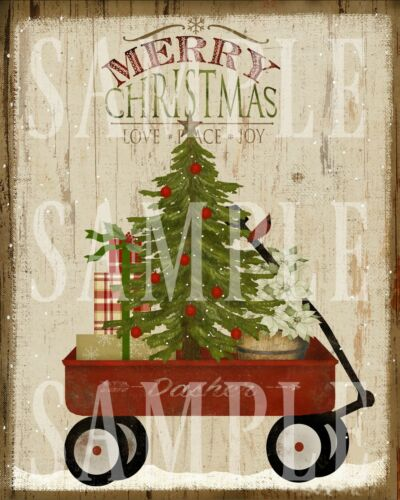 Primitive Country Merry Christmas Little Red Wagon Tree  Laser Print 8x10