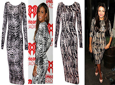Womens Tribal Celeb Animal Leopard Zebra  Print Long Midi Pencil  Bodycon Dress