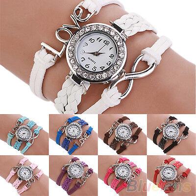 New Fashion Womens Love Braided Faux Leather Bracelet Analog Wrist Watch