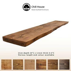 Rustic Waney Edge / Live Edge Floating Shelf Wood Solid Chunky Oak 9x1.5Handmade