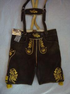 Trachten-Ziegenlederhose-kurz-Gr-54-56-schwarzbraun-gelbe-Stickerei
