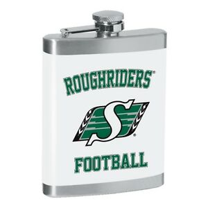 SASKATCHEWAN ROUGHRIDERS FLASK ~ 8oz. STAINLESS STEEL FULL COLOR PRINT