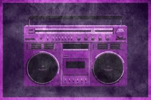 Pop-Art-Boombox-Textured-Purple-inch-Poster-24x36-inch