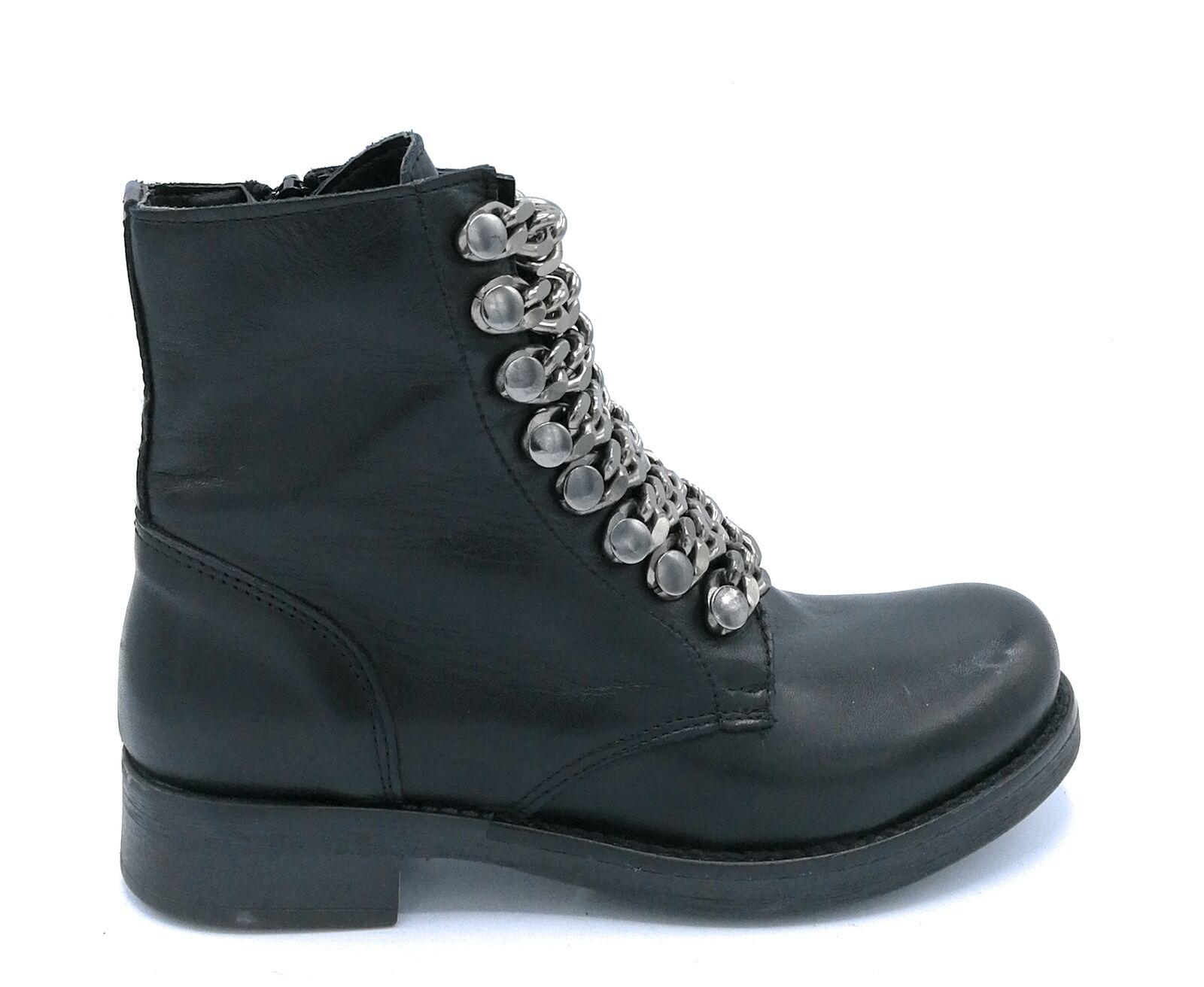 cómodamente Paola Firenze 2100 2100 2100 botas Militares con Cadenas de Cuero Negro Cremallera Fondo  barato