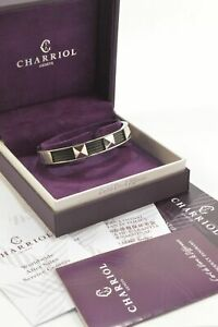NWOT-Charriol-04-03-1139-2-9-Silver-Black-PVD-Forever-Bangle-Large-Bracelet