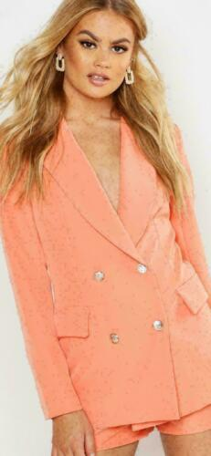 New Women/'s Gold Button Double Breasted Duster Coat Ladies Jacket Blazer