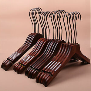 10Pack-Wooden-Solid-Walnut-Finish-Suit-Pants-Dresses-Hangers-HOT-Pro-US