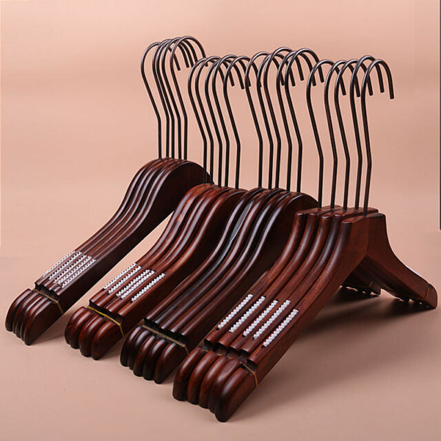 10Pack Wooden Solid Walnut Finish Suit, Pants, Dresses Hangers HOT