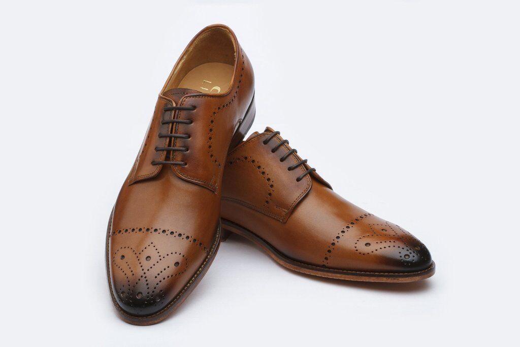 Men Bespoke Handmade Genuine Brown Leather Oxford Brogue Toe Cap Derby shoes