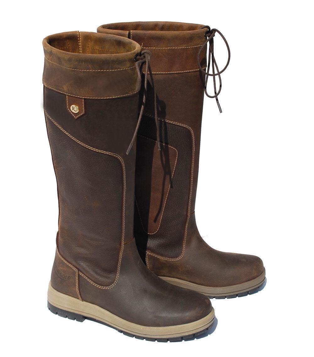 Rhineoro Vermont Cuero ceroso Damas Impermeable botas De País De Patio Medio Pantorrilla