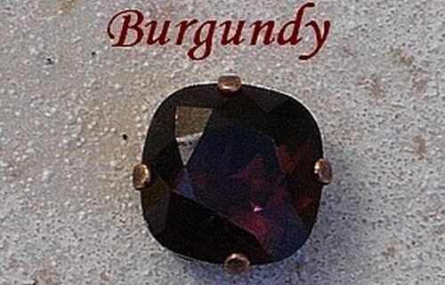1 cabochon carré 12 mm serti burgundy cristal de swarovski.