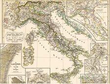 Echte 163 Jahre alte Landkarte ITALIEN Genua Pavia Venezia Valetta Torrello 1854