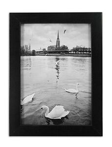 Golden-State-Art-5x7-Ebony-Black-Color-Wood-Swan-Photo-Frame-with-REAL-GLASS