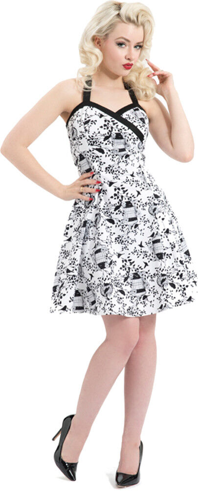 Voodoo Vixen BIRDCAGE Blüten Vintage Neckholder DRESS Kleid Rockabilly