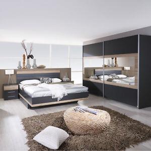 Schlafzimmer Set Tarragona Bett Nakos Kleiderschrank Grau Metallic