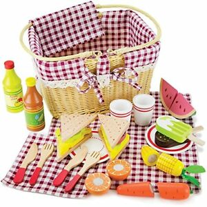 Slice & Share Picnic Basket, Shareable Wooden Foods | Food Toys Pretend Play