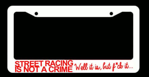 JDM Street Racing Tuner Drifting Funny White License Plate Frame Red Art