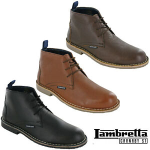 Lambretta-Desert-Boots-Leather-Grain-Ankle-Lace-MOD-Carnaby-Mens-Soft-Round-Toe