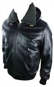 Mens-Black-Removable-Hood-Real-Leather-Bomber-Jacket-Fleece-Fur-Lined