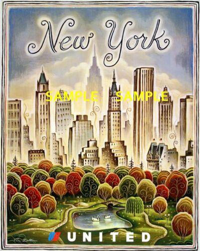 """11/"""" x 17/"""" Collector/'s Travel Poster Print B2G1F United  Airlines New York"""