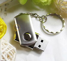 512MB USB DRIVE Memory Flash Thumb Stick Pendrives Silver Swivel Metal +Keychain